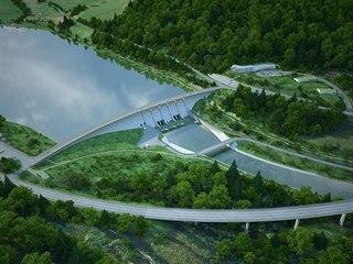 Vizualizace přehrady Nové Heřminovy.