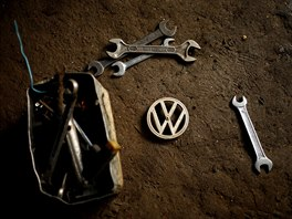 A Volkswagen car emblem is seen on the floor of a garage in Addis Ababa,...