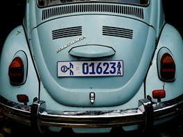 A Volkswagen Beetle car is seen whilst under maintenance at a garage in Addis...