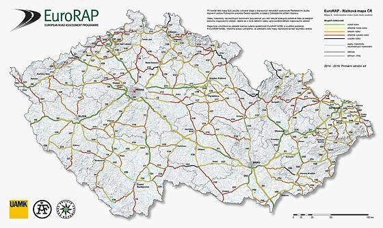 Riziková mapa silnic v ČR (2014 - 2016)