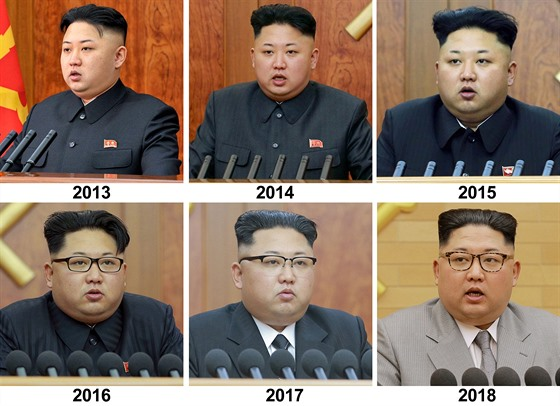 Kim Èong-un pøi novoroèním projevu v letech 2013–2018