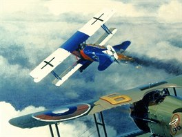 Spad XIII a Fokker D.VII na výtvarném díle (autor: William S. Phillips)