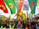 Kurdský protest proti turecké vojenské operaci v syrském Afrínu (16. února 2018)
