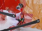 Austria's Manuel Feller crashes during the first run of the men's giant slalom...
