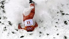 Alla Tsuper, of Belarus, crashes during the women's freestyle aerial final at...