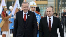Turkish President Erdogan and his Russian counterpart Putin review a guard of...