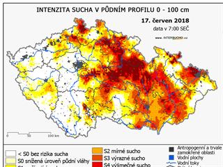 Intenzita sucha 17. června 2018