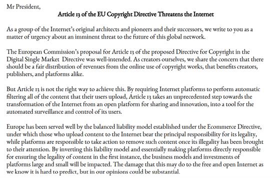 Vint Cerf, Tim Berners-Lee a další významné osobnosti podepsali dopis...