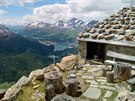 Zastávka číslo 3: vyhlídka od Segantinho chaty 2 700 m n. m. ke Svatému Mořici