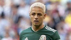 Mexico's Javier Hernandez follows the action as playing during the round of 16...