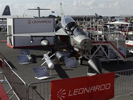 An Italian Leonardo M-346FA is displayed at the Farnborough Airshow in...