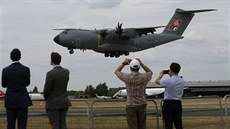 An Airbus 400M lands after a flying display at the Farnborough Airshow in...