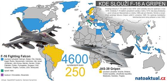 Mapa uživatelů letounů F-16 a Gripen