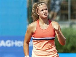Karolína Muchová se raduje na turnaji v Olomouci