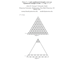Can n2 + 1 unit equilateral triangles cover an equilateral triangle of side >...