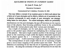 Equilibrium points in n-person games