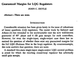 Guaranteed margins for LQG regulators