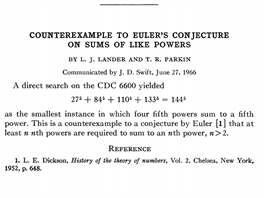 Counterexample to Euler's Conjencture on sums of like powers