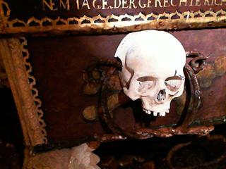 Hrobka Jana Jiřího ze Švamberka. Detail nepravého madla v podobě dvou železných...