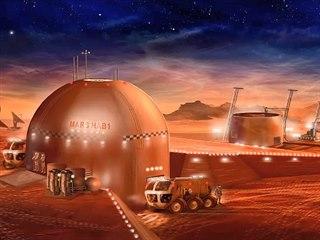 Představa ilustrátora obydlí na Marsu