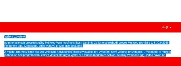 Končí služba Mujweb.cz, fungovat začala v minulém století