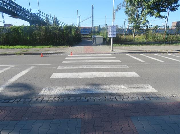 Přechod pro chodce, kde k nehodě došlo.