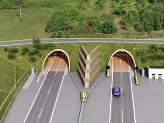 Plánovaný tunel na dálnici D35, vpravo je stoupání na stávající silnici I/17...