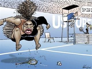 """""""A nemůžete ji prostě nechat vyhrát?"""" Karikatura tenistky Sereny Williamsové od..."""