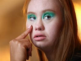 Model Madeline Stuart, who has Down's syndrome, is prepared backstage before...