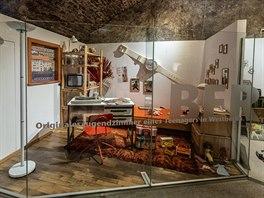 Výstava s názvem Místo děje: železná opona na zámku ve Weitře. Na snímku je...