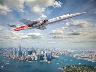 Nadzvukový letoun Aerion AS2 v simulaci na New Yorkem.