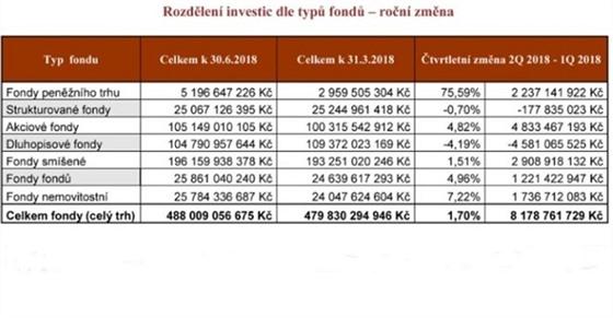 Rozdělení investic dle typu fondů – roční změna