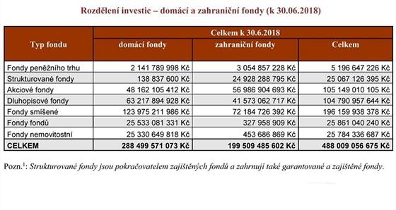 Rozdělení investic – domácí a zahraniční fondy (k 30. 6. 2018)