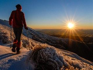 Mount Taranaki, Nový Zéland. Použitím vyššího clonového čísla zvýrazníte efekt...