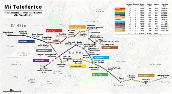 Mapa sítě lanovek Mi Teleférico v bolívijském městě La Paz