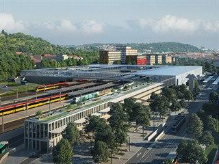Na Smíchově vznikne obří dopravní terminál. Na obrázku jedna z možných...