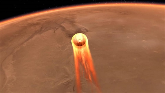 Sonda InSight prostupuje atmosférou Marsu na přistání (ilustrace). Je...