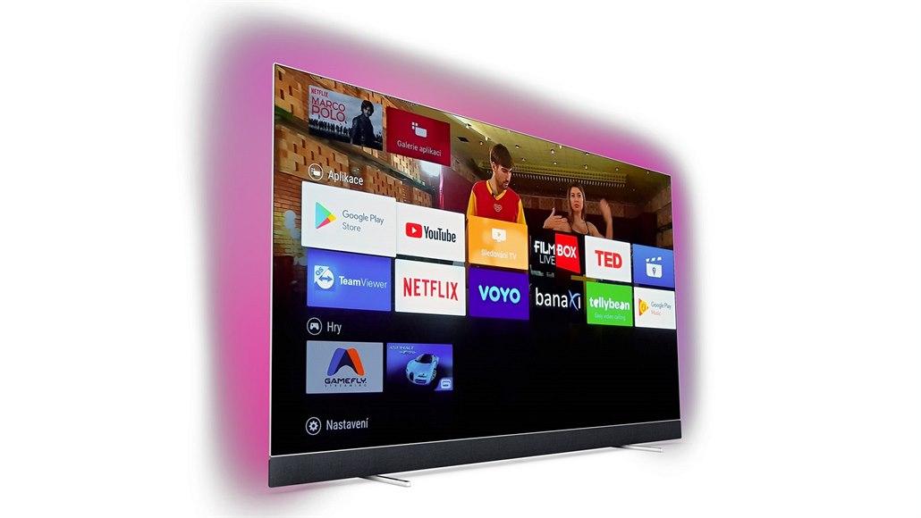 d18800ab1 Rozhraní Android TV na Philips 55OLED903. Podsvětlení Ambilight je pouze  ilustrační a nevztahuje se k