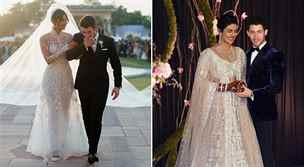 Svatební šaty Chopry: 24 metrů dlouhá vlečka a dva miliony flitrů