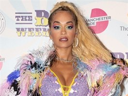 Rita Ora poses for pictures on the press boards at Pride in Manchester.