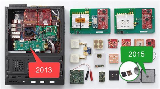 Prototypy Google Soli - za tři roky vývoje se čip výrazně zmenšil.