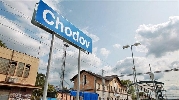 Vlakové nádraží v Chodově na Sokolovsku.