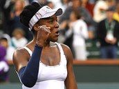 Venus Williamsová se raduje na turnaji v Indian Wells.