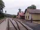Pohled ze stanoviště strojvedoucího na stanici Třebívlice na trati 113 Most -...
