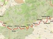 Mapa Švestkové dráhy Lovosice - Čížkovice - Obrnice - Most