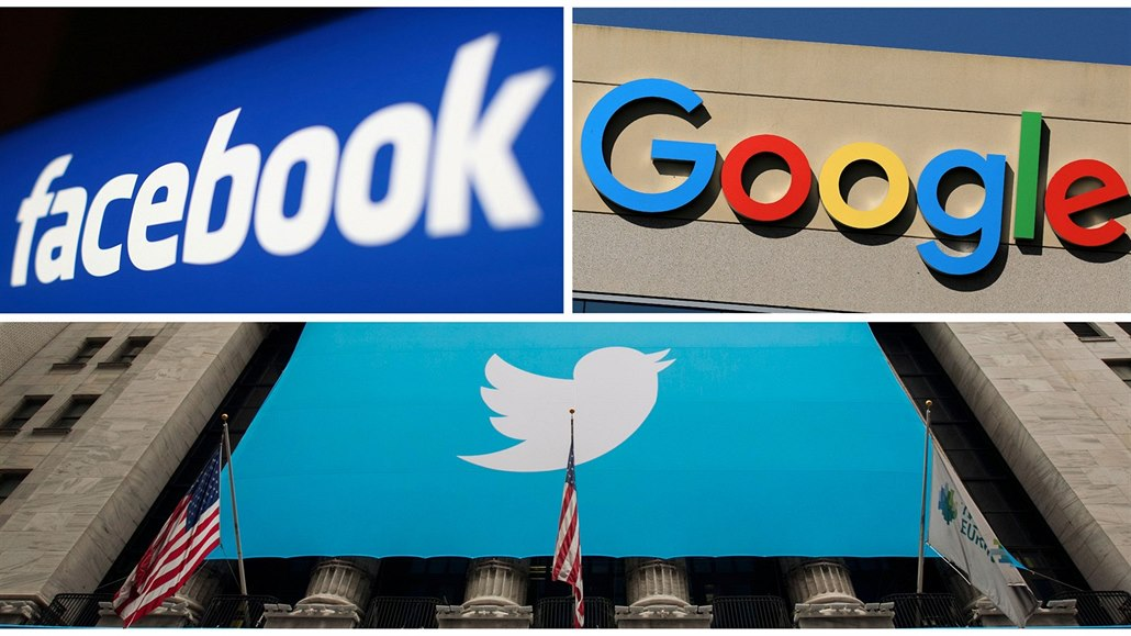 Facebook, Google and Twitter logos are seen in this combination photo from...