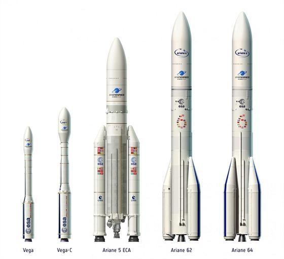 Rodina evropských raket, od nejmenší Vegy, přes současnou Ariane 5 až po...