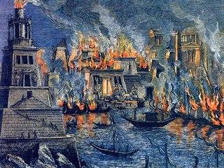 Oheň zničil Alexandrijskou knihovnu, největší a nejslavnější knihovnu...