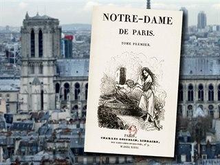 Titulní strana prvního vydání románu Victora Huga Chrám Matky Boží v Paříži.