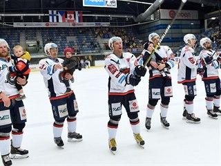 Chomutovští hokejisté se loučí s diváky po skončené sezoně.